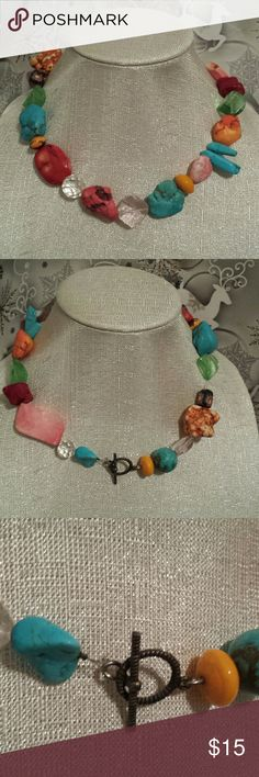 Mixed stone necklace Multi color mixed stone necklace with swivel clasp for easy on and off.   Heavy,  good quality, unique mix of stones and beads. Jewelry Necklaces