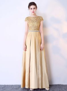 The evening dress is featuring round neck, cap sleeve, high waist, lace panel, slim fit.;Polyester, soft and comfortable;The evening dress is featuring round neck, cap sleeve, high waist, lace panel, slim fit.;Package Contents:1*Dress (No accessories incl