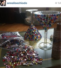 Bedazzled martini glasses DIY.