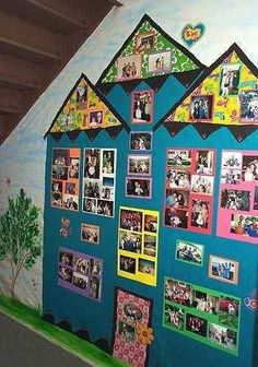 31 Incredible Bulletin Boards For Back To School A Homey Classroom: This house is filled with photos of students and their families. What a great way to make families feel like they're a part of your classroom community. Classroom Setting, Classroom Displays, Classroom Organization, Family Bulletin Boards, Preschool Bulletin Boards, Family Boards, Preschool Family, Preschool Activities, Classroom Family Tree