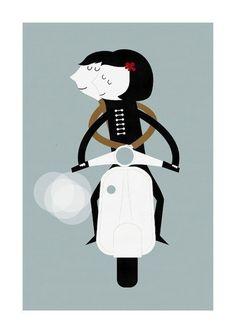 ilustracion vespa blanca gomez