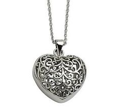 Steel by Design Filigree Heart Pendant with 21-1/2L Chain