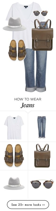 """""""Untitled #9380"""" by alexsrogers on Polyvore featuring Paige Denim, MANGO, rag & bone, Birkenstock, The Cambridge Satchel Company and Christian Dior"""