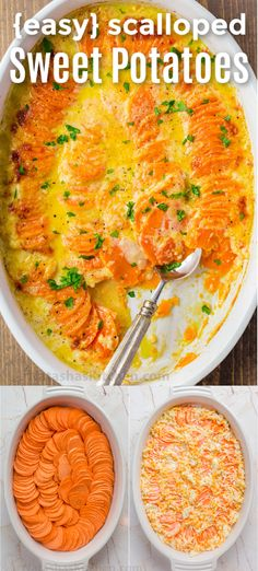 Scalloped Sweet Potato Recipe - a Sweet Potato Gratin with gorgeously stacked sweet potatoes in a casserole dish in a rich garlic and butter cream with cheese. The perfect side dish for the Holidays, especially Christmas, Easter or Thanksgiving. Side Dish Recipes, Veggie Recipes, Vegetarian Recipes, Cooking Recipes, Vegetarian Sweets, Scalloped Sweet Potatoes, Mashed Sweet Potatoes, Dinner With Sweet Potatoes, Recipes For Sweet Potatoes