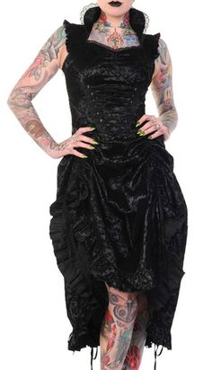 Banned Victorian Flocked Black Party Dress Steampunk Vintage Corset Lase Back in Clothes, Shoes & Accessories, Women's Clothing, Dresses | eBay