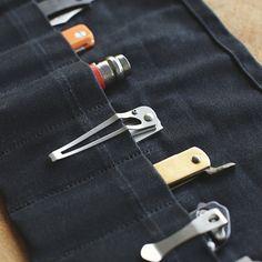 Waxed Canvas Pocket Knife Roll