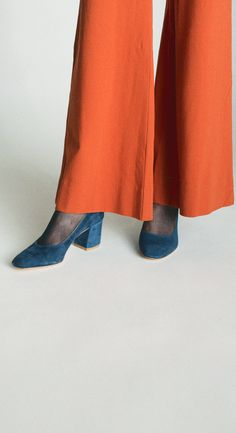 Zimmermann Arcadia Rust High Waist Pant & Maryam Nassir Zadeh Denim Suede Maryam Pump