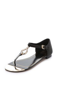 Dolce Vita Cerro Flat Sandals ... I just ordered these - black basics with a metallic detailing that kicks them up a notch.