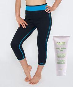 Turquoise Bio-Ceramic Heat Intensifying Capri Leggings & Anti-Cellulite Cream by Delfin Spa #zulily #zulilyfinds