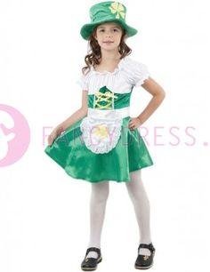Kabouter Meisje kinderkostuum    Het Kabouter Meisje kostuum bestaat uit:  Een groen/witte jurk.  Een bijpassende groene hoed met een klavertje vier op de voorkant.    Maten voor dit kostuum zijn:  Small kind     maat 110-122     (3-4 jaar)  Medium kind     maat 122/134     (6-8 jaar)  Large kind     maat 134/146     (8-10 jaar)