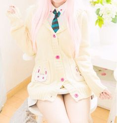 Japanese kawaii cos rabbit ear hooded sweater coat · Asian Cute {Kawaii Clothing} · Online Store Powered by Storenvy Kawaii Fashion, Lolita Fashion, Cute Fashion, Hooded Sweater, Sweater Coats, Sweaters, Visual Kei, Japanese Fashion, Korean Fashion