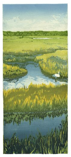 Egret - A woodblock print by Matt Brown. This reminds me of a trip through the Everglades.