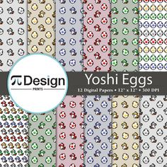 Digital Paper inspired by one of the best video games ever made: Super Mario Bros. Perfect for scrapbooking projects, invitations, announcements, party favors, wallpapers, graphic design, stationary and paper crafts. This paper pack features cute yoshi and eggs in a variety of colors for you to choose from by PiDesignPrints