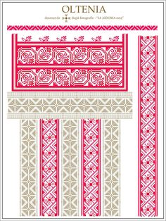 Semne Cusute: IA AIDOMA 002 - Gorj, Oltenia, ROMANIA Embroidery Map, Learn Embroidery, Embroidery For Beginners, Embroidery Techniques, Embroidery Patterns, Cross Stitch Patterns, Machine Embroidery, Beading Patterns, Palestinian Embroidery