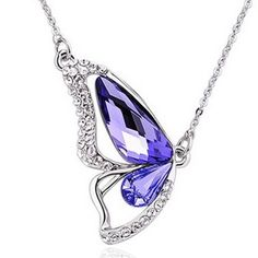 Swarovski Butterfly Necklace Purple Crystal