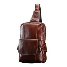 Men New Vintage Fashion Genuine Leather Chest Shoulder Bag Travel Cross-body Bag Vintage Men, Vintage Fashion, Ipad Bag, Messenger Bag Men, Vintage Accessories, Leather Men, Travel Bags, Leather Backpack, Cross Body