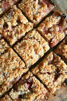 "The dough in this rhubarb buckle recipe yields the perfect bottom crust — not too cakey, not too crisp, a slightly sweet, perfectly sturdy layer that really allows the rhubarb to shine. Martha said it best: ""This dessert belongs in everyone's outdoor entertaining file."" // alexandracooks.com"