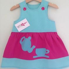 Tatty Tea Party Dress Duck Egg Blue and Cerise Pink by TattyRoseUK, £22.00
