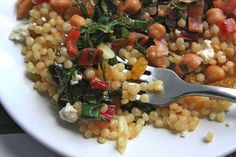 Pearl couscous with Swiss chard and raisins | Shutterbean.com