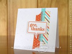 It took me longer to get out my crafting toys (umm) tools and mount the Just Sayin' clear-mount stamp, than it did to make this card!  I love the simplicity and fun of this card.  And I am loving the funky designs and the colours of the Retro Fresh Suite: Baked Brown Sugar, Coastal Cabana, So Saffron and Tangerine Tango.  Inspired by the card on page 3 of the Occasions Catalogue.  www.creativestamping.co.nz | Stampin' Up! | Occasions Catalogue