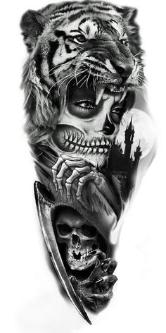 Arm Tattoos Lettering, Hd Tattoos, Skull Rose Tattoos, Lion Head Tattoos, Body Art Tattoos, Tattoos For Guys, Realistic Tattoo Sleeve, Full Sleeve Tattoos, Tattoo Sleeve Designs