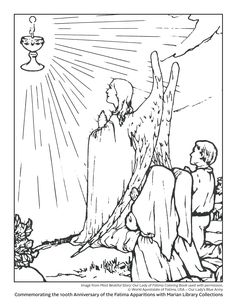 Commemorating the Anniversary of the Fatima Apparitions with Marian Library Collections Coloring Books, Coloring Pages, Blue Army, Lady Of Fatima, Beautiful Stories, Our Lady, Anniversary, Collections, Drawings