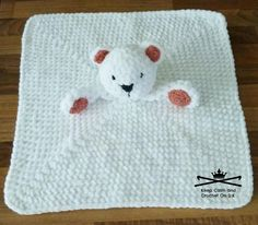 While I'm totally against polar bear rugs. I don't think babies will get any bad ideas snuggling up to this cutie! Crochet Pattern @ Ravelry: Nanuk the Polar Bear Lovey pattern by Heather C Gibbs Crochet Security Blanket, Crochet Lovey, Lovey Blanket, Cute Crochet, Baby Blanket Crochet, Crochet Dolls, Knit Crochet, Christmas Knitting Patterns, Crochet Patterns