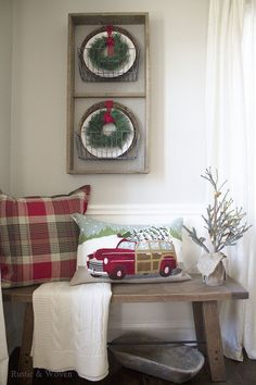 Rustic and Woven Dining Room Bench - Christmas 2015
