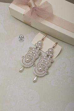 Bridal Pearl Earrings For Bridesmaid Wedding Pearl Earrings Soutache Jewelry For Bride Large Wedding Earrings White Gold Earrings