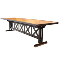 French 10'  X Base Steel Riveted Dining Table | From a unique collection of antique and modern dining room tables at http://www.1stdibs.com/furniture/tables/dining-room-tables/