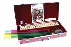 Pink Aluminum Mah Jong Set, $109 Sale. Maybe MahJong is your madness?!  Great times start here, http://www.thegamesupply.com/mahjong-sets #classicboardgames #mahjongsets