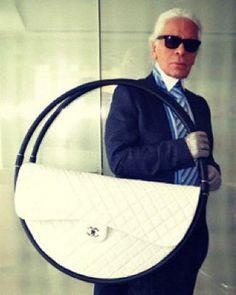 Karl Lagerfeld modeling the Chanel Hula Hoop Bag