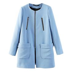 Blue Shade Straight-line Coat with Patch Pockets ($42) ❤ liked on Polyvore featuring outerwear, coats, azure, blue coat and lined coat