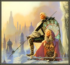 "Illustration for Tad Williams' novel ""To Green Angel Tower"", showing Prince Jiriki of the Sithi and his sister"