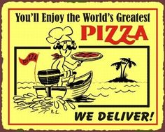 Pizza Delivery Vintage Metal Art Italian Pizzeria Retro Tin Sign