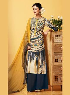 Navy Blue Cotton Satin Kameez With Palazzo Pant 82987