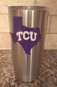 GO TCU Frogs! You can order your Yeti with a decal of TCU deep in the heart of Texas or the TCU letters. The decal is made using commercial