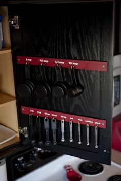 Kitchen Cabinet~ My Mom needs to do this. it would save her a lot of frustration. lol