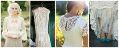 abito da sposa bianco insolito con inserti in crochet o uncinetto