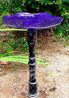 Creating Comfort with Glass Bird Bath : Blue Glass Bird Bath Bowl. Bird Bath Bowl, Glass Bird Bath, Diy Bird Bath, Bird House Feeder, Bird Feeders, Garden Whimsy, Garden Design, Landscape Design, Bath Design