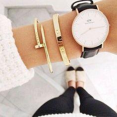 Simple bracelets + watch. #danielwellington