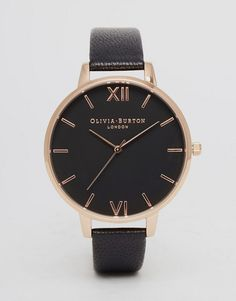 90a7a744bede Olivia Burton OB15BD66 big dial leather watch in black   rose gold