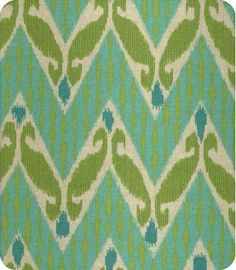 Zig Zag Ikat DL in Aqua - turquoise & lime green fabric Fabric Yarn, Ikat Fabric, Cool Fabric, Drapery Fabric, Green Fabric, Ikat Pattern, Fabric Patterns, House Color Palettes, Green Home Decor