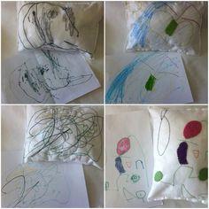 Almofadas em feltro,feitas à partir dos desenhos das crianças.