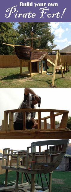 DIY Pirate Ship Play Fort! Check out how they made their unique play-fort for ideas on how to build your own. #piratefort #pirateship #diyship #diyfort