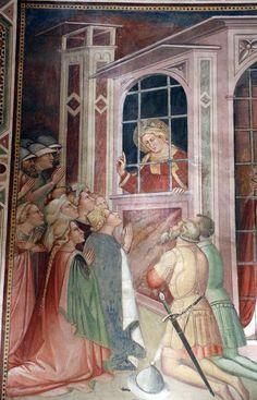 Spinello Aretino - Storie di Santa Caterina d'Alessandria - Caterina in prigione converte la regina con le dame, dettaglio - affresco - 1348-1387 - Oratorio di Santa Caterina delle Ruote - Bagno a Ripoli (Firenze)