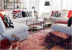 oriental rug with graphic pillows