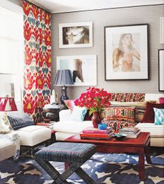 Eclectic, Sig Bergamin's Manhattan Apartment Living Room via Elle Decor and Kmmacker Eclectic Living Room, My Living Room, Home And Living, Living Room Decor, Living Spaces, Eclectic Decor, Eclectic Design, Design Interiors, Eclectic Style