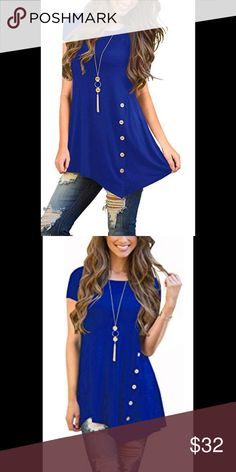 Royal blue side button asymmetrical hem tunic One of the official Pantone  colors for spring 2019 b0d64d2cf69c