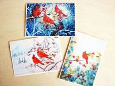Christmas Greeting Card Set - Red Cardinals Three Card Gift Set - 5 x 7 inches - Blank Inside - With White Envelopes - Giclee Art Prints Made from Original Acrylic Painting - ART CARDS FOR FRAMING * Save this wonderfull product : Handmade Gifts